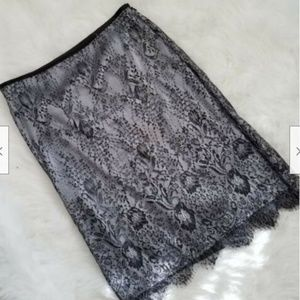 Ann Taylor Elastic Laced Skirt Petite Sz 10P Black